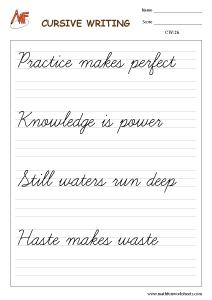 Cursive Writing Worksheet
