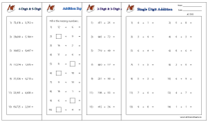 Horizontal Number Addition Worksheets
