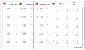 Subtraction Math Worksheets ending with Zero